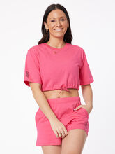 Cotton Crop Drawstring T-Shirt Raspberry, , large