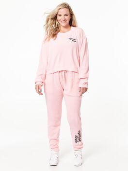 Emily Waffle Long Sleeve Pink, Pink, large