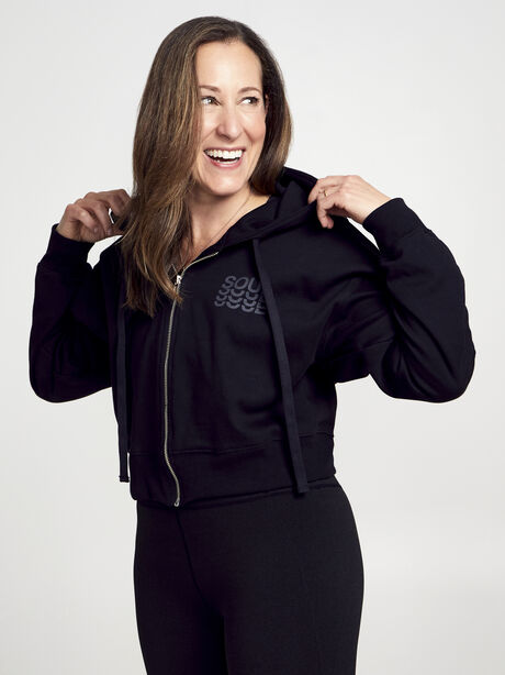 Zip Up Crop Hoodie, Black, large image number 2