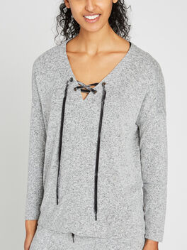 LEIGH LACE FRONT SWEATSHIRT, Grey, large