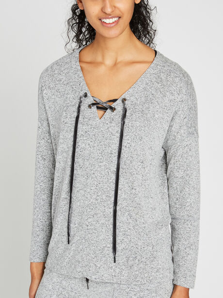 Leigh Lace Front Sweatshirt, Grey, large image number 0