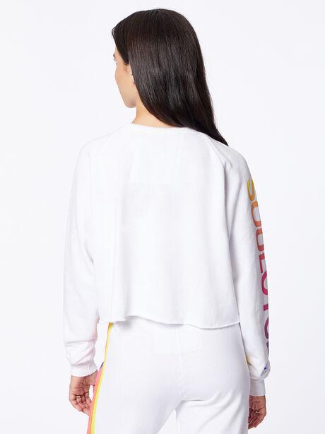 Exclusive Classic Cropped Crew Sweatshirt White/Rainbow London, White, large image number 5