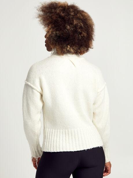 Kori Turtleneck Ivory Sweater, White, large image number 2