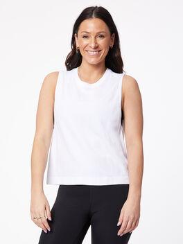 Seamless White Tank Top, White, large