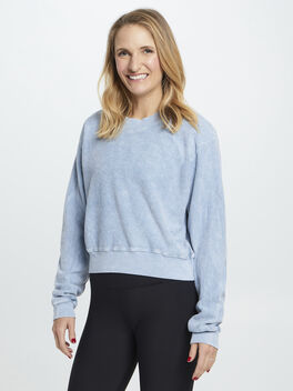 Reverse French Terry Laura Crop, Blue Mineral Wash, large