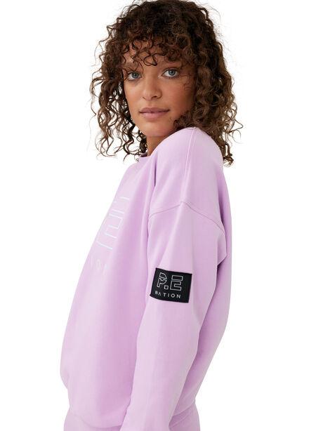 Heads Up Crew Neck Sweatshirt Orchid Bloom, Purple, large image number 0