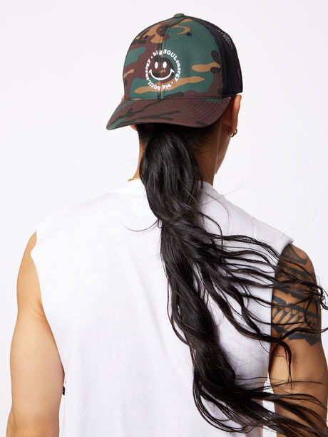 Big Soul Energy Trucker Hat Camo, Green/Camo, large image number 0