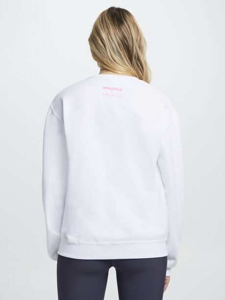 Palm and Bike Crewneck White And Pink, White, large image number 2
