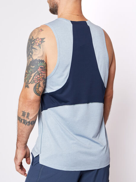 Fast And Free Tank, Heathered Chambray/True Navy, large image number 2