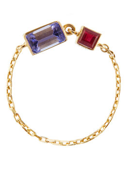 Tanzanite and Ruby 18k Gold Chain Ring, Gold, large