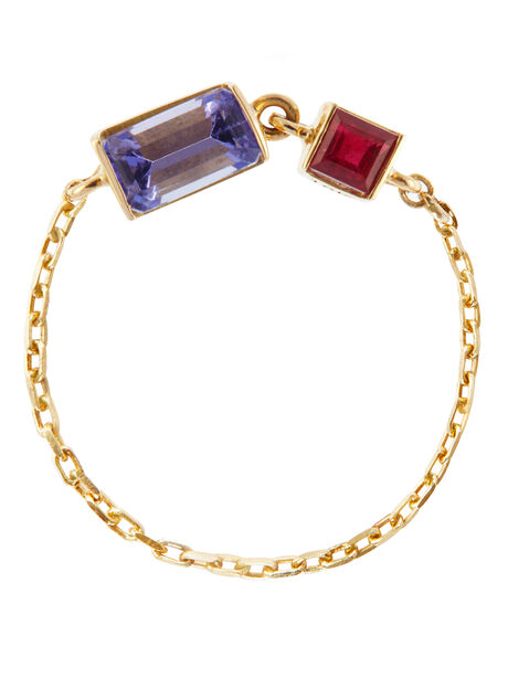 Tanzanite and Ruby 18k Gold Chain Ring, Gold, large image number 0