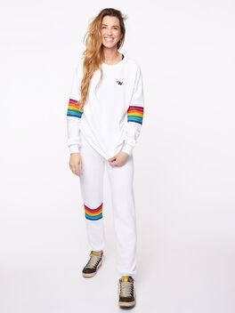 Rainbow Stitch Crew Sweatshirt White, White, large