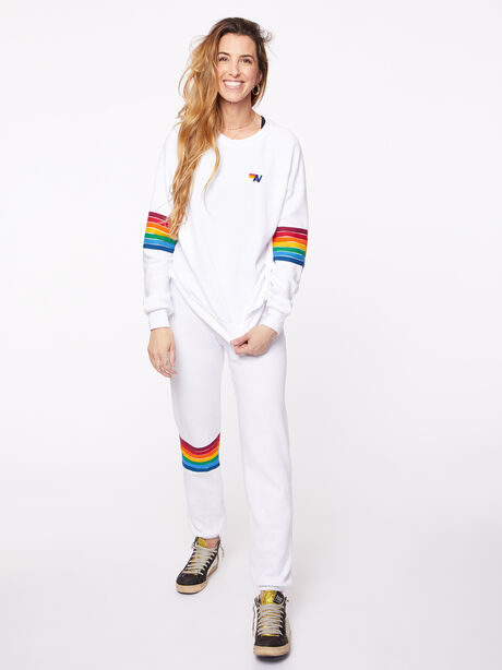 Rainbow Stitch Crew Sweatshirt White, White, large image number 0