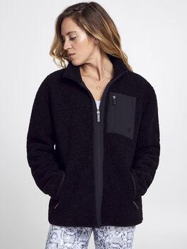 Sherpa Full Zip, Black, large