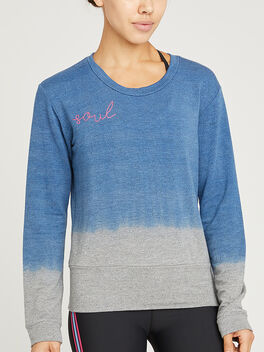 Two Tone Dip Dye Crewneck, Blue Dip Dye, large