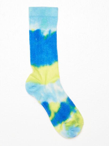 Unisex Tie-Dye Crew Sock Yellow/Blue, Navy/Yellow, large image number 1