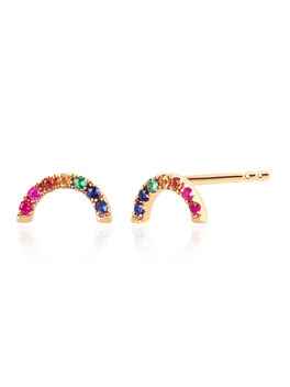 EF Collection Diamond Rainbow Stud Earring, Gold, large