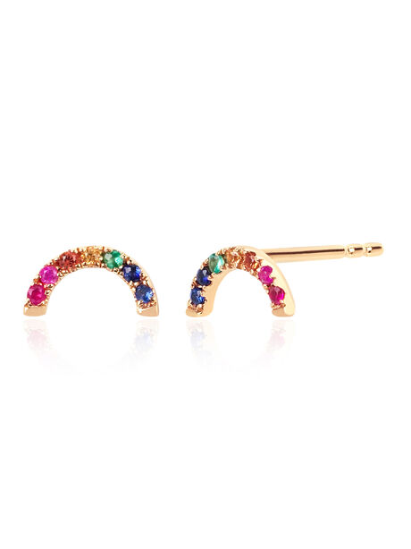 EF Collection Diamond Rainbow Stud Earring, Gold, large image number 0