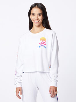 Exclusive Classic Cropped Crew Sweatshirt White/Rainbow, White, large
