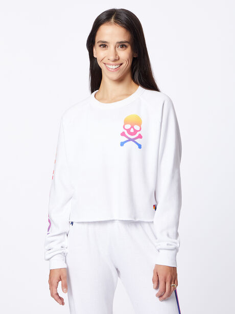 Exclusive Classic Cropped Crew Sweatshirt White/Rainbow, White, large image number 1