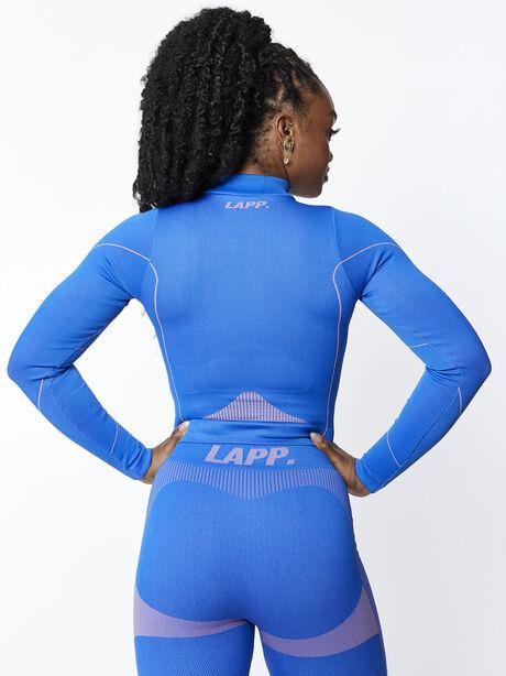 Seamless Half-Zip Jacket, Blue, large image number 1