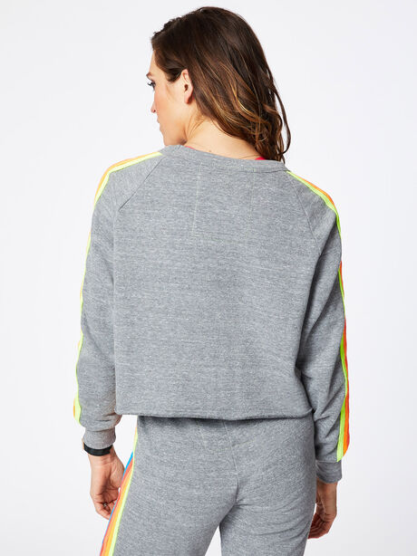 Classic 5 Stripe Crew Sweatshirt Heather Grey, Heather Grey, large image number 3