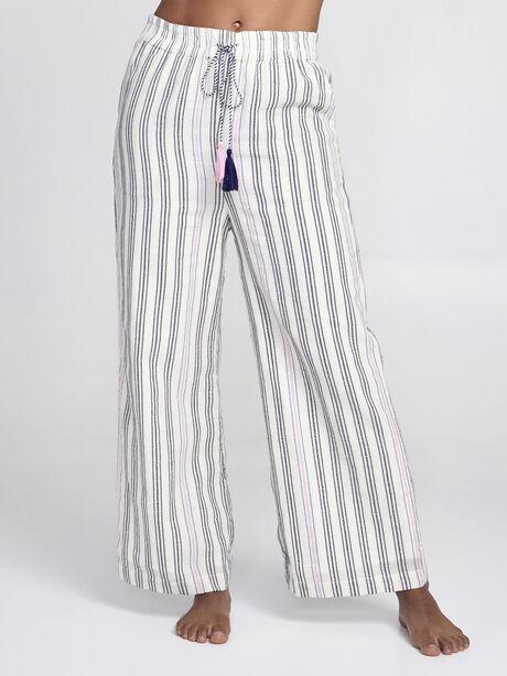 Striped Wide Leg Pants, Natural, large image number 0