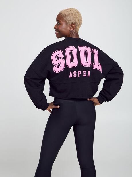 Aspen Cropped Long-Sleeve Shirt, Black, large image number 1