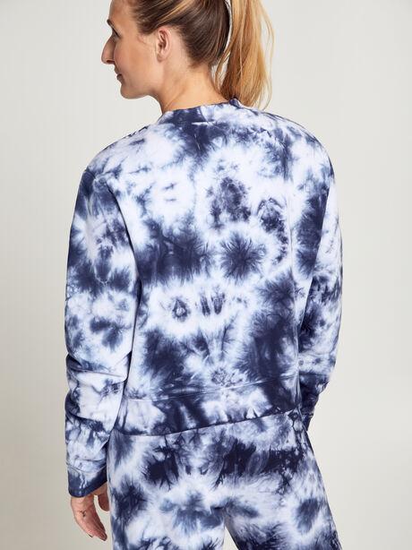 Laura Cropped Tie Dye Sweatshirt, Navy/White, large image number 3