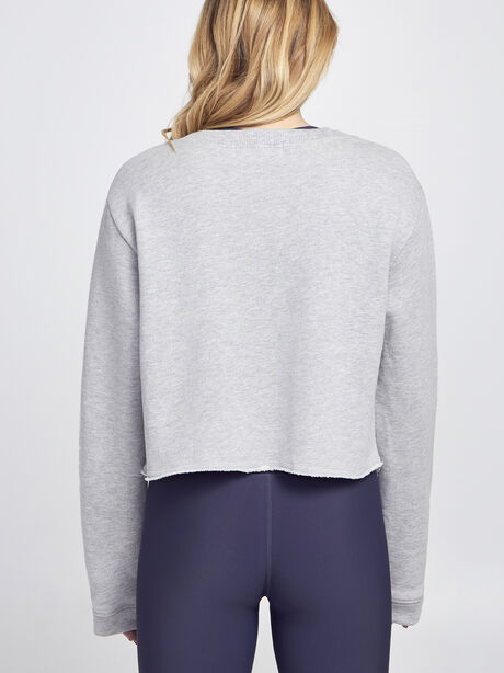 Casey Cropped Sweatshirt , Heather Grey, large image number 2