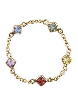 Sapphire Rainbow 5 Stones Chain Ring, Multi, large