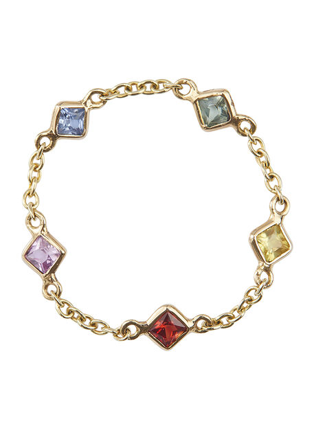 Sapphire Rainbow 5 Stones Chain Ring, Multi, large image number 0