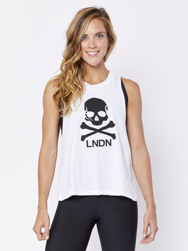 London Skull Lafayette Tank, White, large