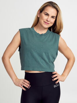 Tokyo Cropped Forest Green Tank Top, Forest Green, large