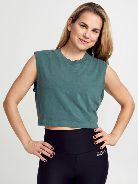 Tokyo Cropped Forest Green Tank Top, Forest Green, large image number 0