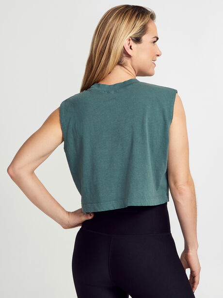 Tokyo Cropped Forest Green Tank Top, Forest Green, large image number 2