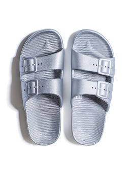 Moses Two Band Slides Metallic Silver, Silver, large