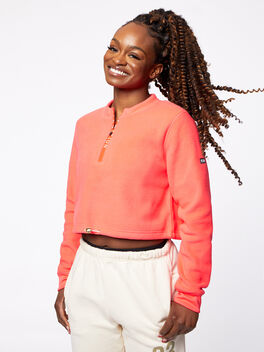 Double Team Cropped Half-Zip Pink, Hot Pink, large