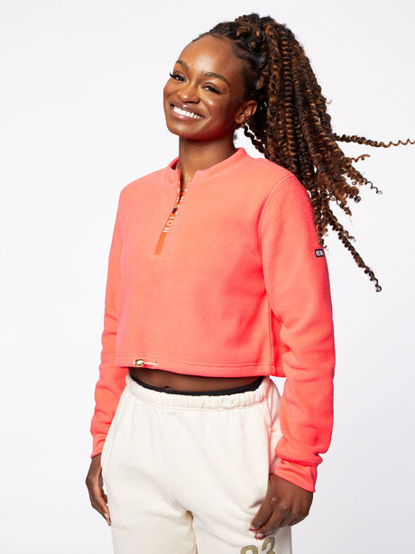 Double Team Cropped Half-Zip Pink, Hot Pink, large image number 0