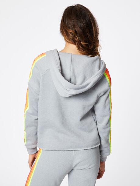 Split Neck 4 Stripe Hoodie Light Grey, Light Grey, large image number 5