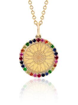 Rainbow Diamond Wheel Necklace, Gold, large