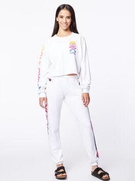 Exclusive Classic Cropped Crew Sweatshirt White/Rainbow London, White, large