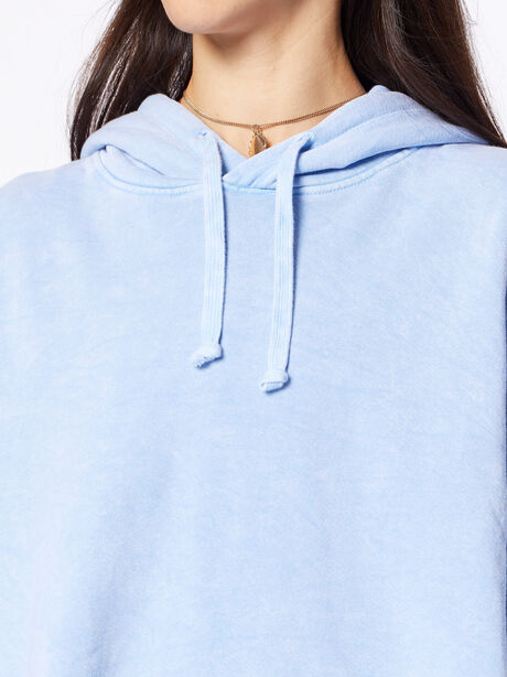 Mineral Wash Casey Crop Hoodie Light Blue, Blue Mineral Wash, large image number 2