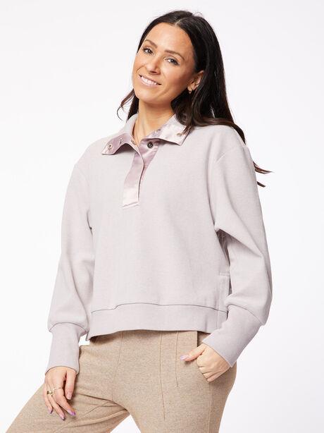 Huston Ribbed Pique Sweatshirt Quail Purple, Purple, large image number 0