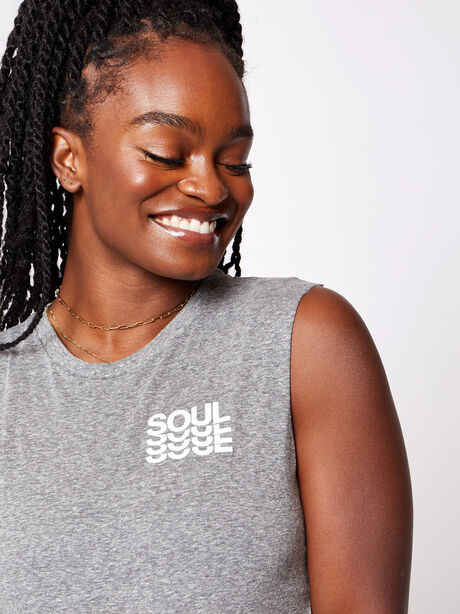 London Cropped Muscle Tank with Soul, Heather Grey, large image number 2