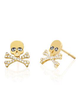 Skull Diamond Earrings, Gold, large