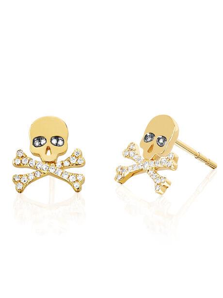 Skull Diamond Earrings, Gold, large image number 0