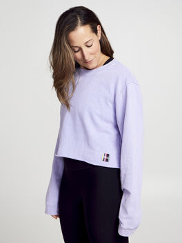 Casey Crop Sweatshirt, Purple, large
