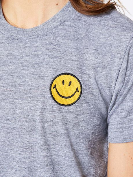Smiley Embroidered Boyfriend Tee Heather Grey, Heather Grey, large image number 1