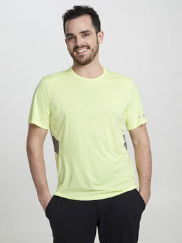 Fast And Free Short Sleeve, Heathered Solar Yellow/Carbon, large